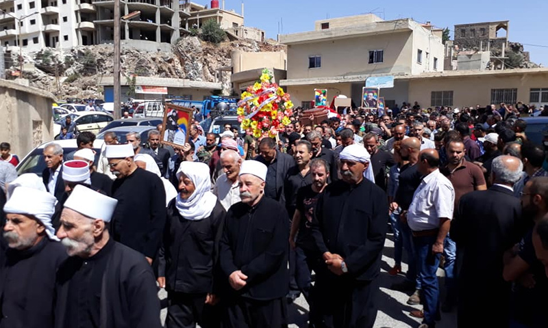 """The funeral procession of the victims of the """"Islamic State's"""" attack on AS- Suwayda, the city of Shahba – July 26, 2018, (Facebook)"""
