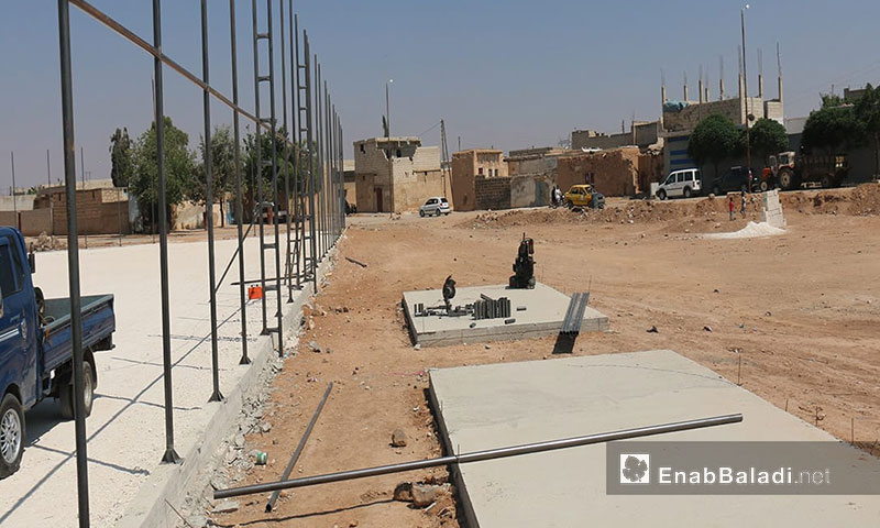 The construction of a football stadium in the city of al-Rai', northern countryside of Aleppo (Enab Baladi)