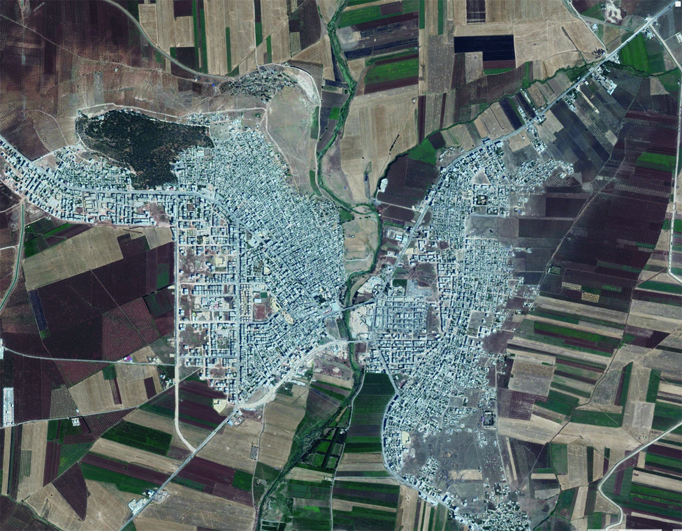 Aerial view of the city of Afrin in Aleppo - (Google Maps)