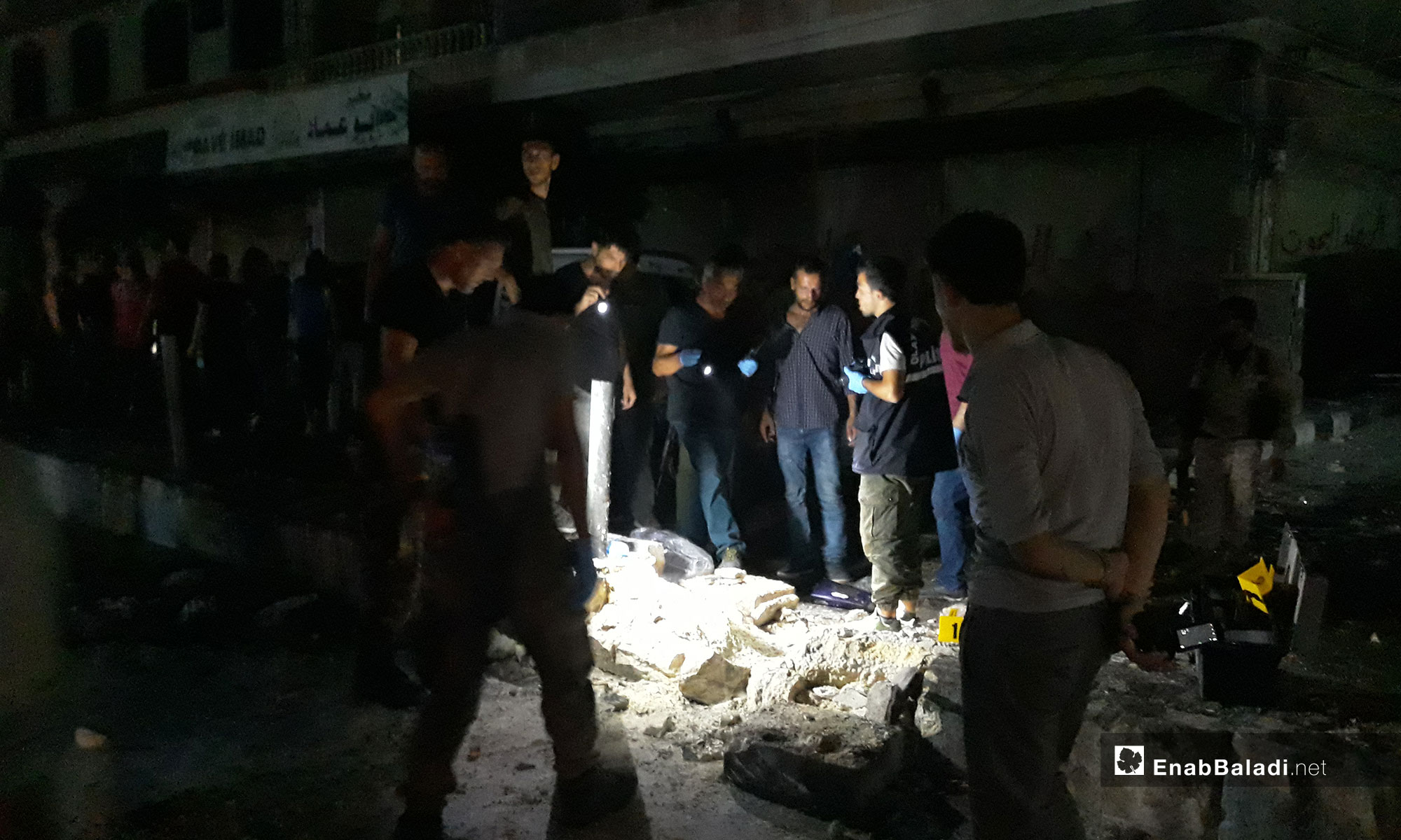 Destruction caused by an explosive device in the city of Afrin – August 29, 2018 (Enab Baladi)