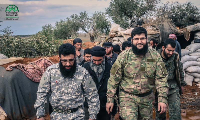 Commander Jaber Ali Basha (to the right)in a visit to the western rural Aleppo fronts (Ahrar al-Sham)