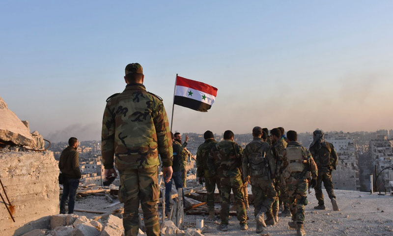 Assad's forces troops on the borders of the occupied Golan Heights- July 2018 (AFP)