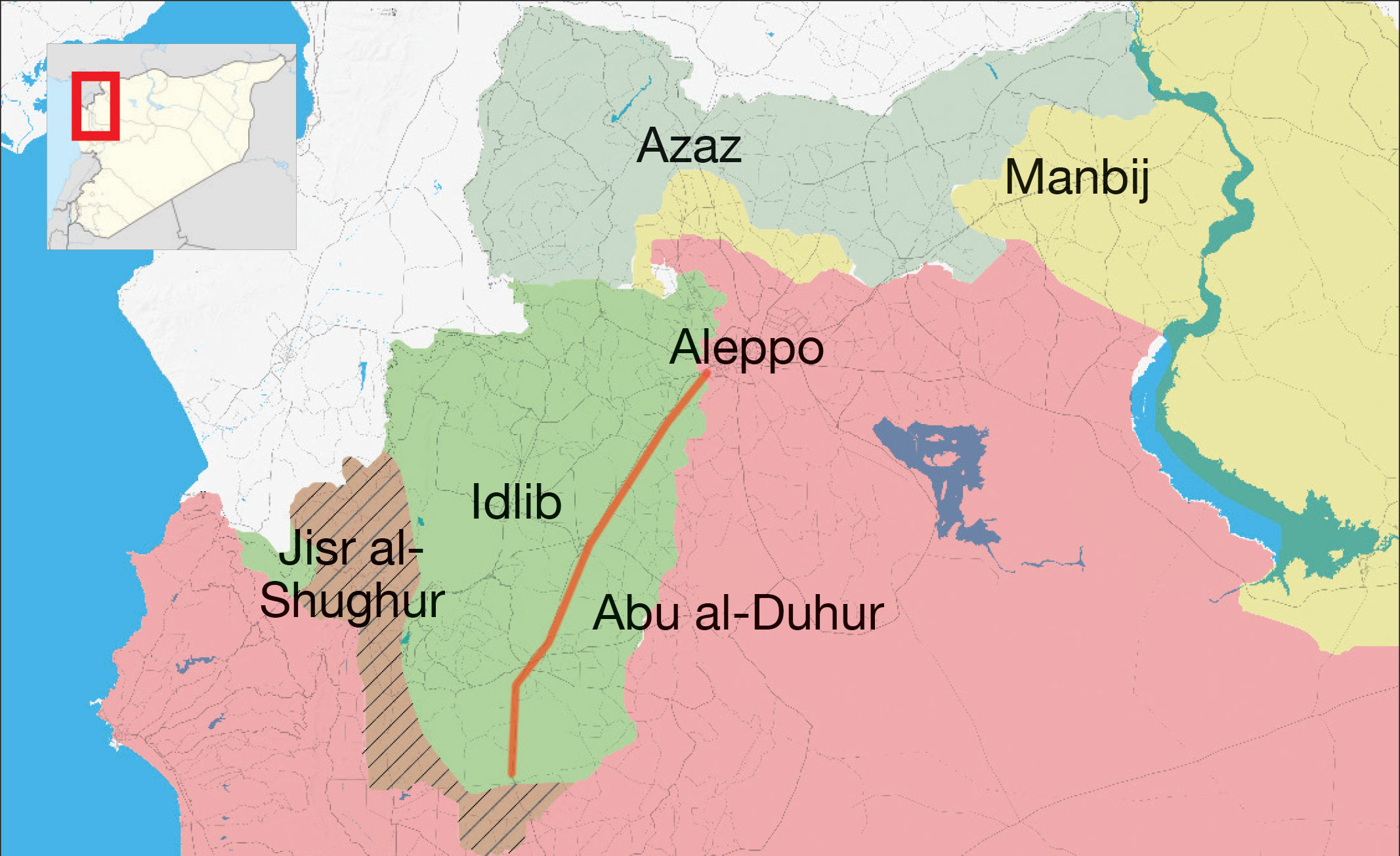 A map showing the areas disputed over by the Syrian regime and the opposition factions and the international Damascus-Aleppo highway – July 28, 2018 (Enab Baladi)