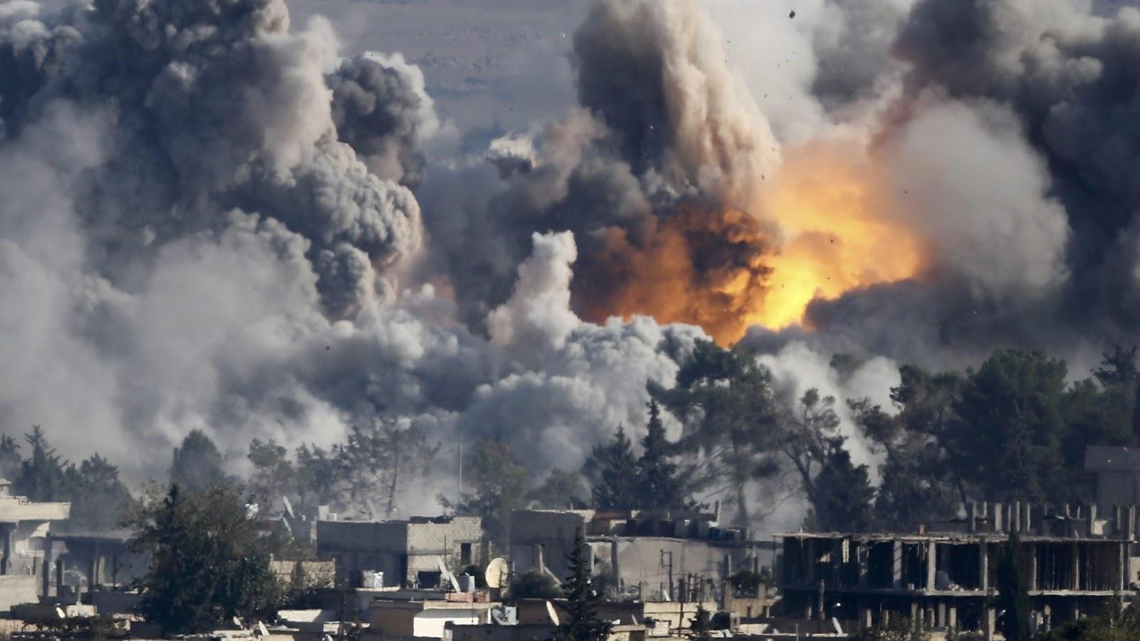 Coalition aircraft bombarding Raqqa (Reuters)