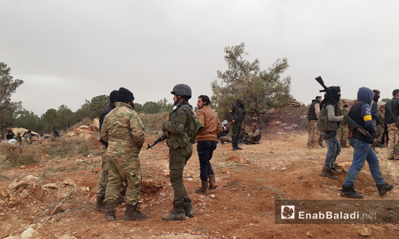 Free Army troops on mount Barsa after they took it over from the Kurdish Units – January 22, 2018 (Enab Baladi)