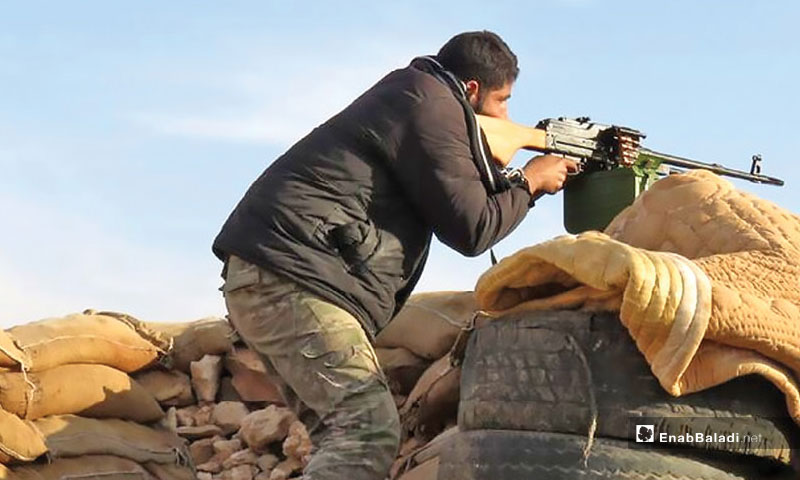 """""""Jaysh al-Nasr"""" faction's personal positioned at the military fronts in the eastern countryside of Hama – December 14, 2017 (Enab Baladi)"""