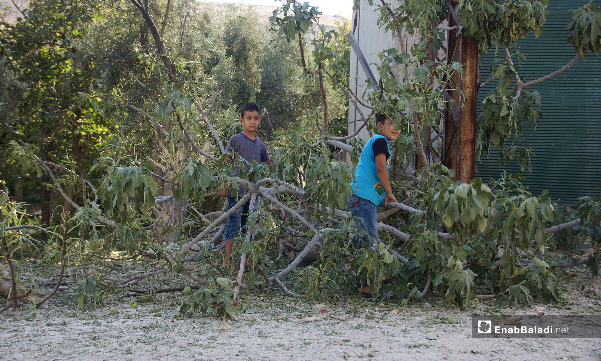 Two children at Qalaat al-Madiq town, rural Hama – September 9, 2018 (Enab Baladi)