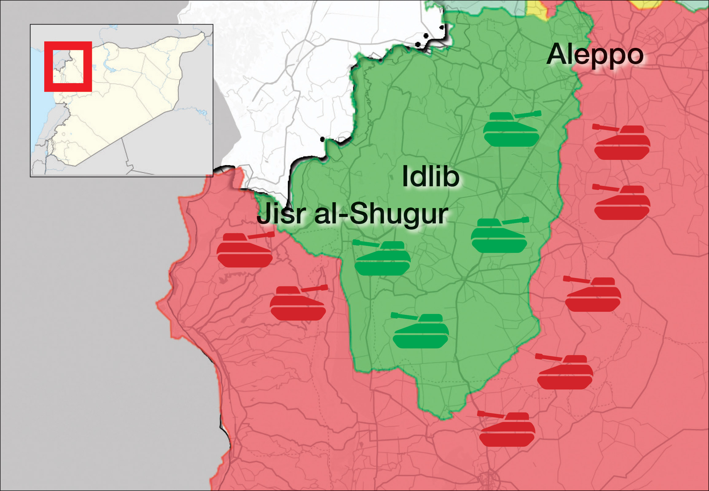 A map showing the military control and the military deployment of both the Syrian opposition and the Syrian regime in Idlib and its surrounding -September 1, 2018 (Livemap)