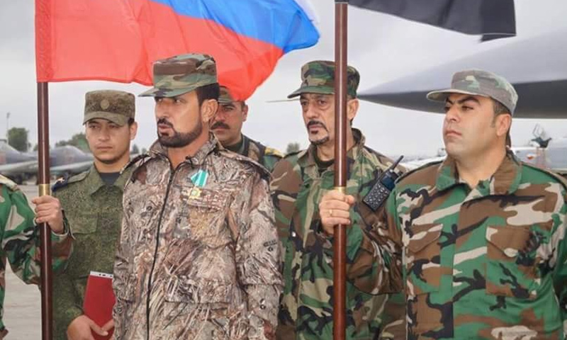 The Brigadier General of Assad's forces Suheil al-Hassan on a visit to the Khmeimim Air Base in rural Lattakia – (Internet)
