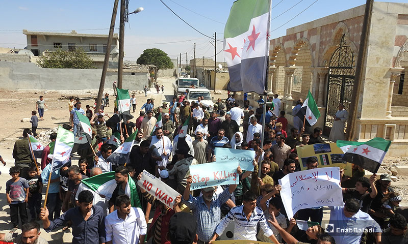 Demonstrations calling for the goals of the revolution, northern rural Aleppo – September 14, 2018 (Enab Baladi)