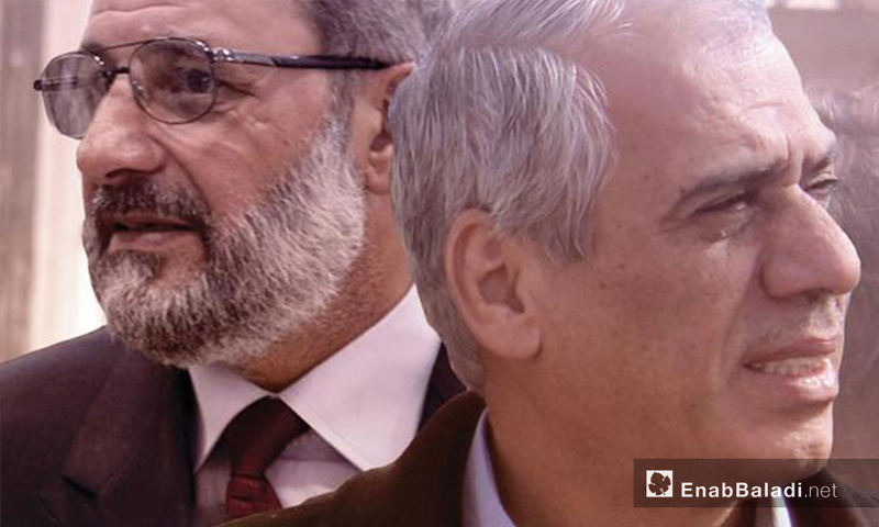 Jawad Abu Hatab, head of the Syrian Interim Government, and Mohammad al-Shaikh, the head of the Salvation government (Modified by Enab Baladi)
