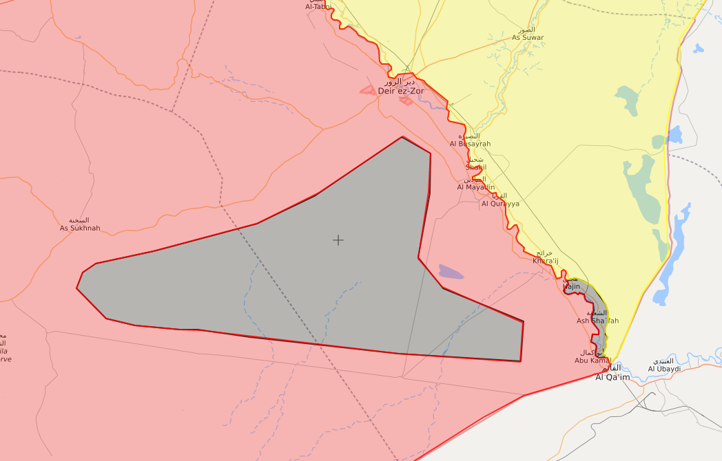 """A map showing the areas where the """"Islamic State"""" has fortified in eastern Syria – September 18, 2018 (LM)"""