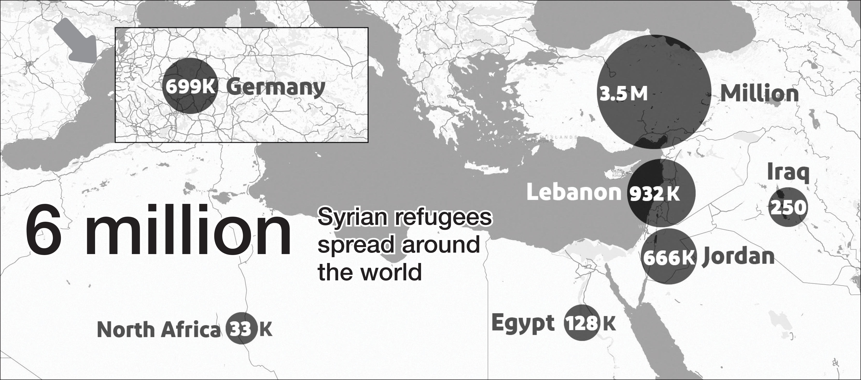 Source: UNHCR, DW Map showing the spread of Syrian refugees in neighbouring countries and Europe 2018 (United Nations)