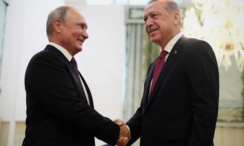 The two presidents Recep Tayyip Erdoğan and Vladimir Putin during the Tehran summit – September 7, 2018 (Reuters)