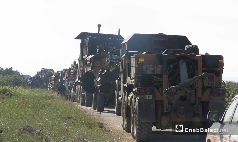 Heavy vehicles, within a Turkish convoy, enter rural Hama for the installation of the ninth supervision point – April 7, 2018 (Enab Baladi)