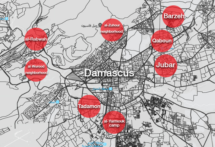 A map showing the distribution of the unauthorized areas in Damascus city (Enab Baladi)