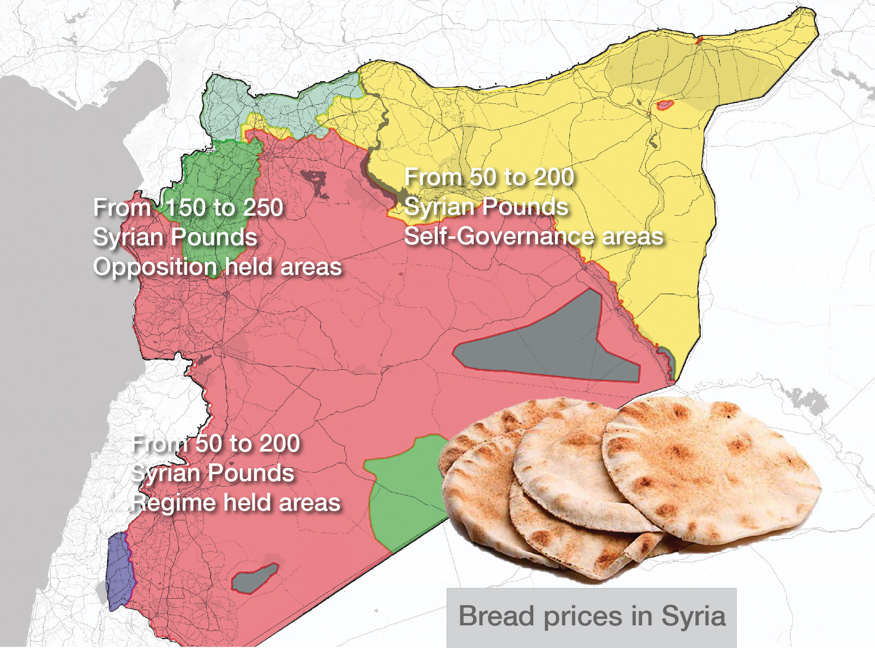 Bread prices in Syria according to the map of military control (livemap)