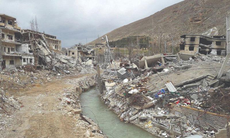 Ain al-Fijah, Wadi Barad, rural Damascus, where Barada river and destroyed neighborhoods appear – 2018 (Facebook)
