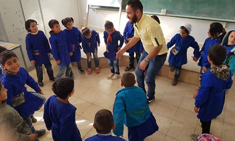"""Of the """"Advocates of Life, We Will Always Be"""" team's activities at the Sweida's schools – October 2018 (Facebook)"""