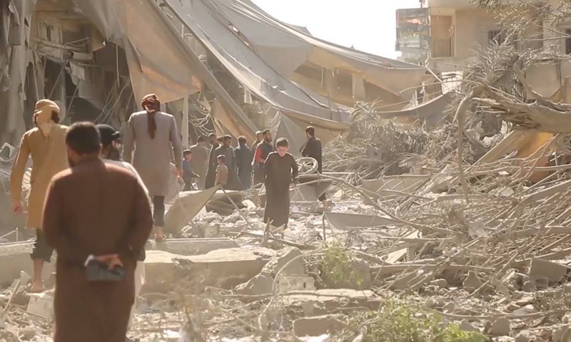 The effects of the International Coalition's bombing of the city of Raqqa in North Syria - May 27, 2017 - (Sound and Picture)