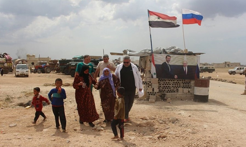 Abu al-Duhur border crossing after it was reopened by Russia and the Syrian regime – August 19, 2018 (Sputnik)