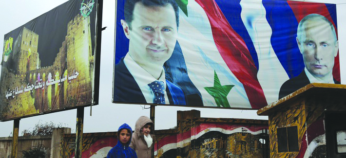 Leader of the Syrian regime Bashar al-Assad and Russian President Vladimir Putin in Aleppo - January 10, 2018 (defenseone)