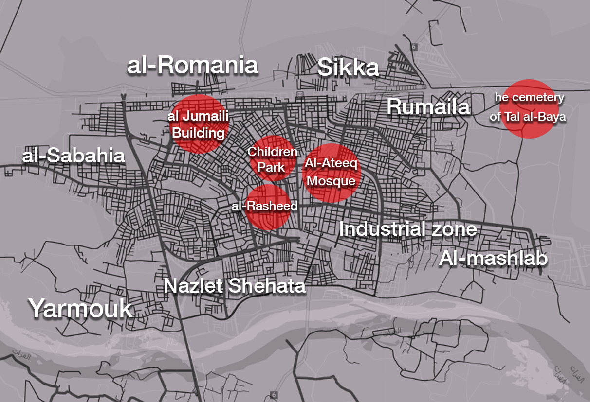 A map showing the distribution of mass graves in the city of Raqqa - Edited by Enab Baladi