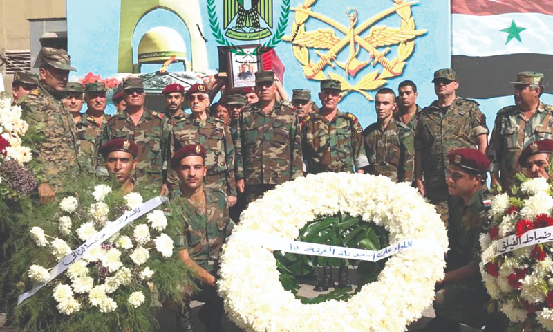 The funeral procession of Brigadier General Walid al-Kurdi of Palestine Liberation Army, who was killed during the Asweida battles, Damascus – September 26, 2018 (Palestine Liberation Army Network)