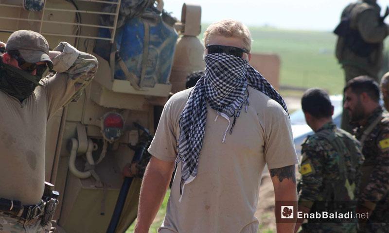 U.S. forces positioned at the village of al-Ghanamah, city of al-Darbasiyah, at the Syrian-Turkish borders – May 1, 2017 (Enab Baladi)