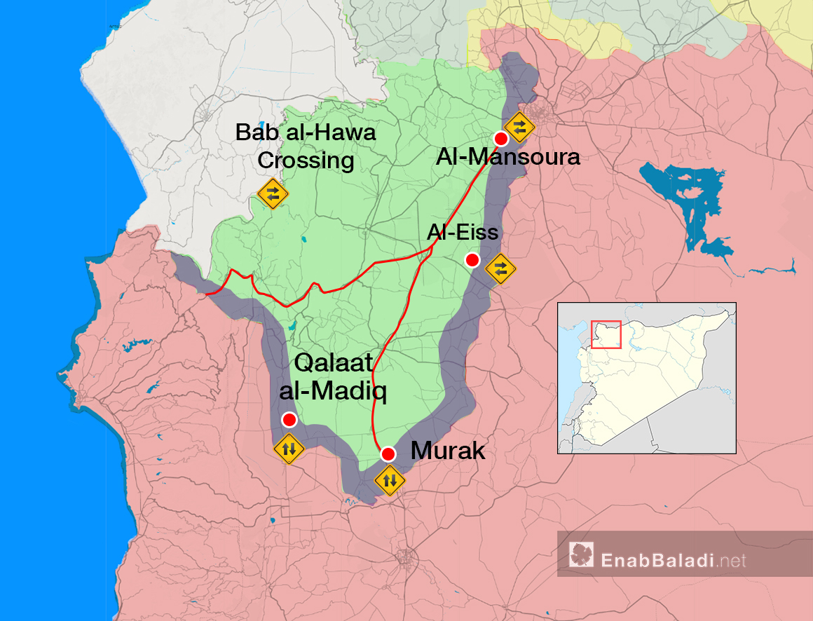 A map showing the distribution of the crossings and vital roads in Idlib – (Modified by Enab Baladi)