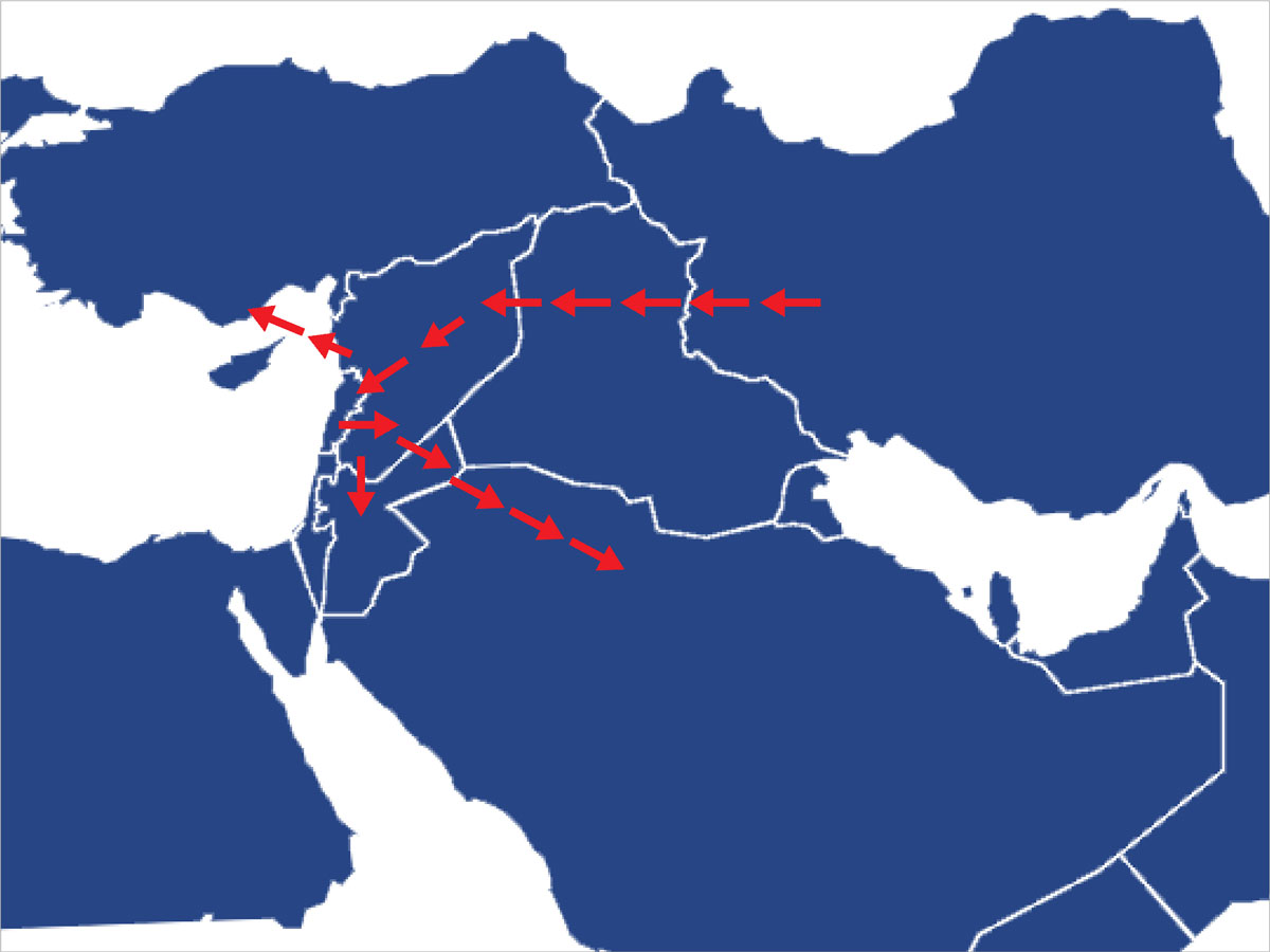 Map showing ways of smuggling drugs to and from Syria (Enab Baladi)