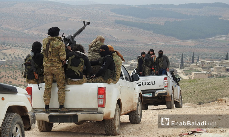 Free Army personnel on the Sharran front, northern Afrin – February 2018 (Enab Baladi)