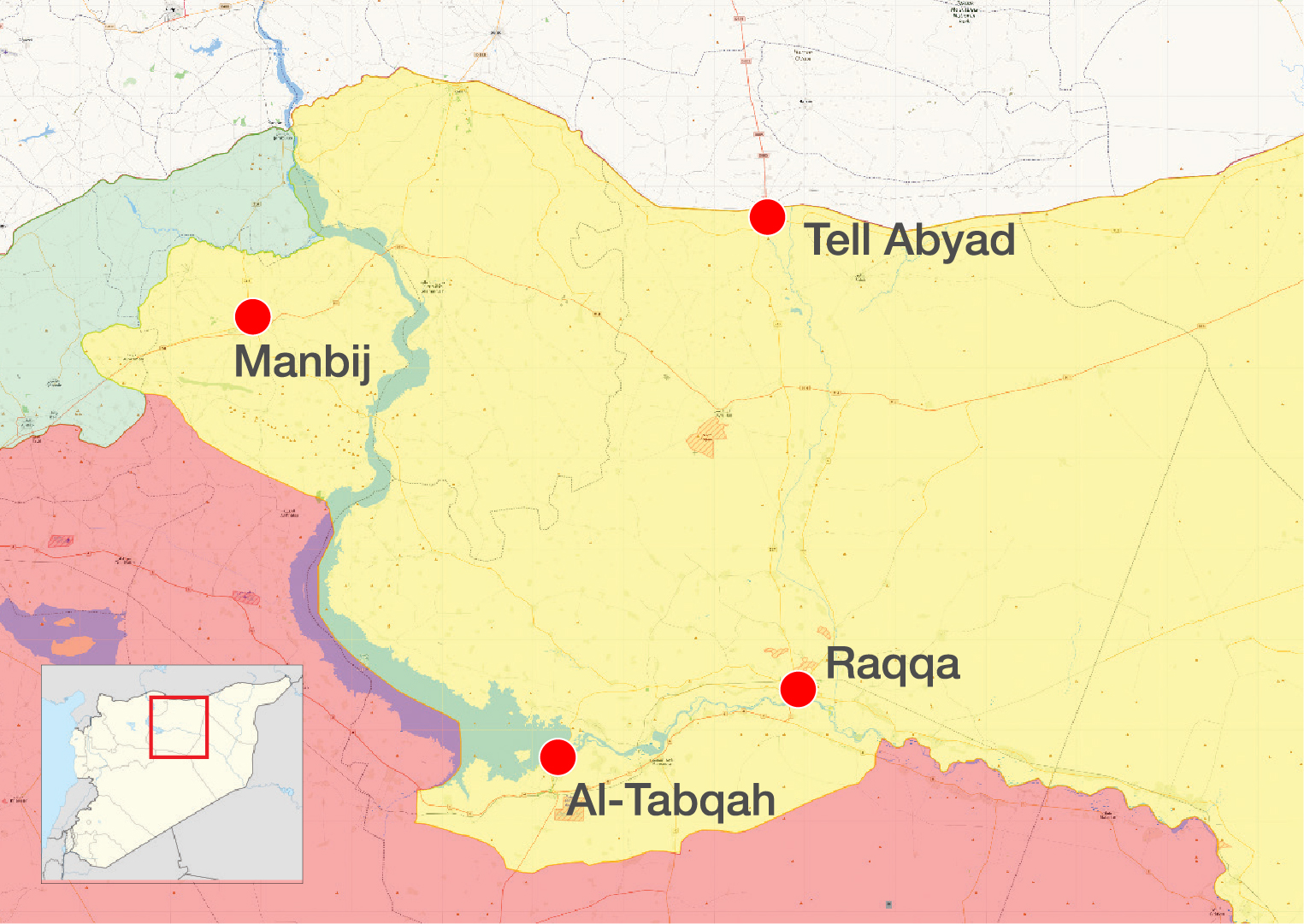 A map showing the control positions in the surrounding of the Tell Abyad city, rural Raqqa – November 11, 20188 (LiveMap)