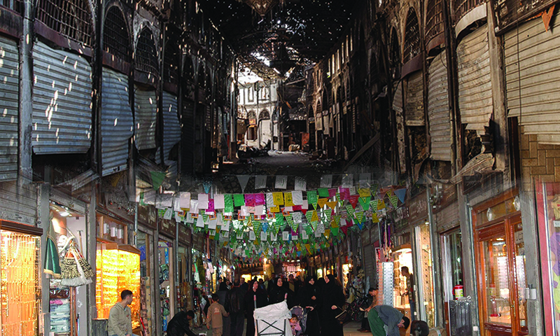 Homs City Old Market before and after being destroyed (Modified by Enab Baladi)