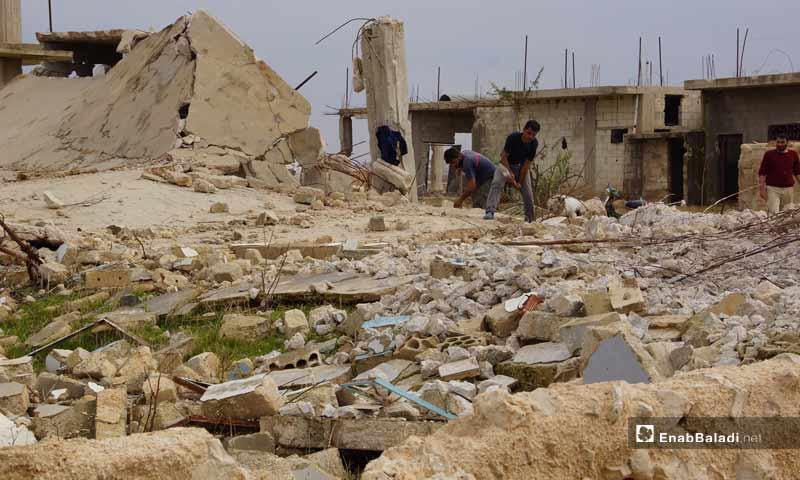 Destruction at the village of al-Arbain, northern rural Hama – November 23, 2018 (Enab Baladi)