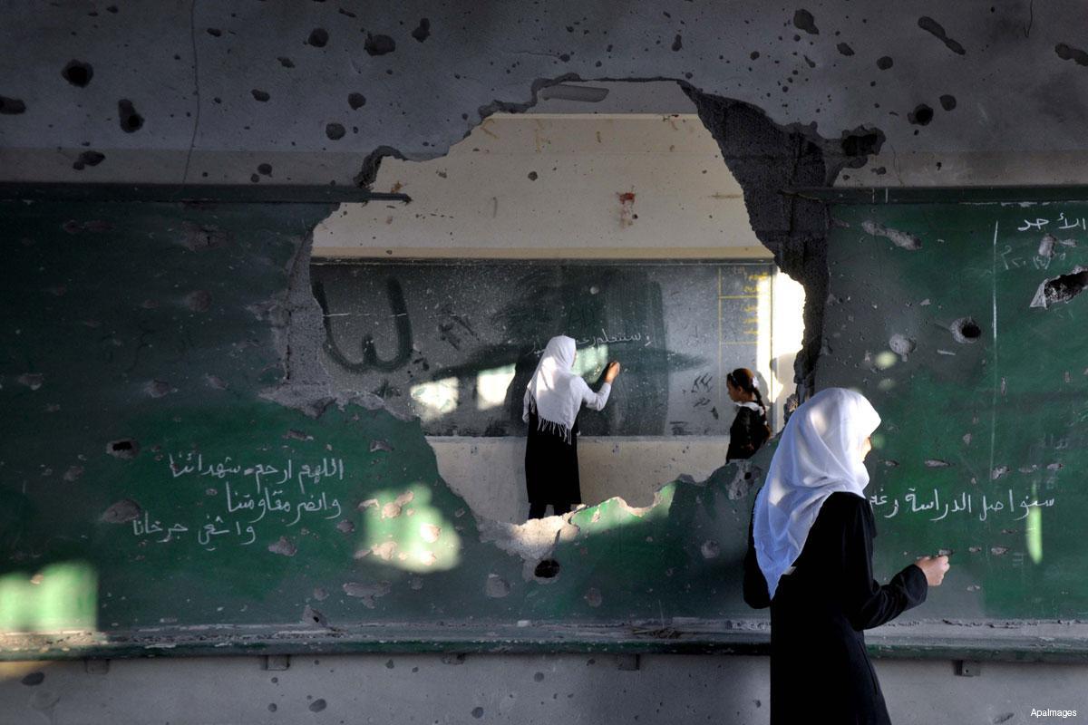 School in Gaza after Israeli bombardment- August 13, 2018 (AP)