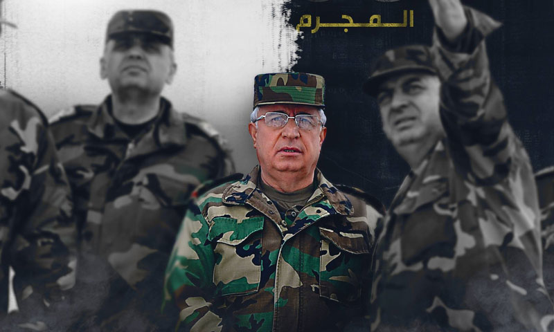 """The Syrian Minister of Defense Ali Abdullah Ayyoub – Modified by the """"Pro Justice"""" campaign """"Facebook"""" page"""