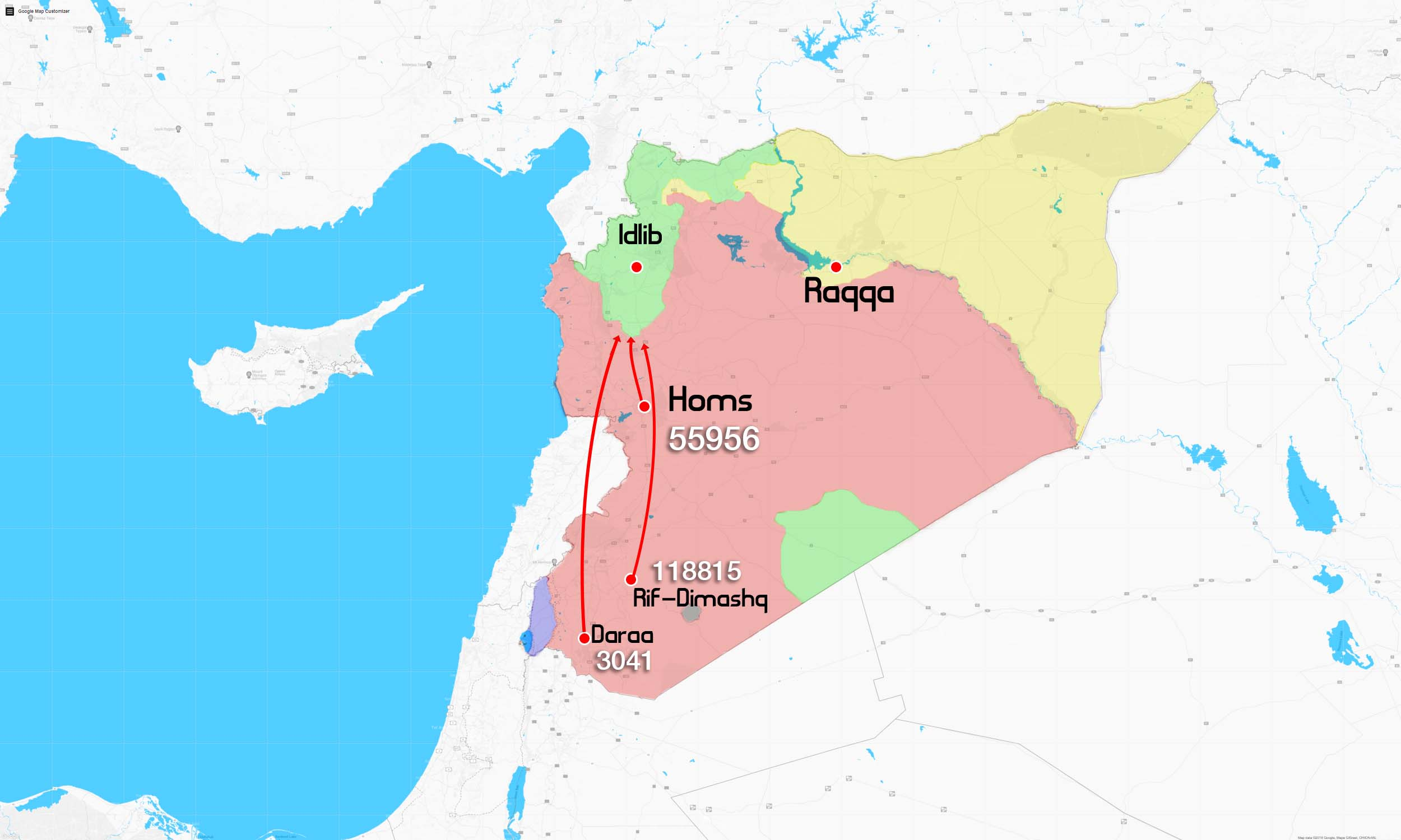 Map showing the number of forcibly displaced persons inside Syria (edited by Enab Baladi)