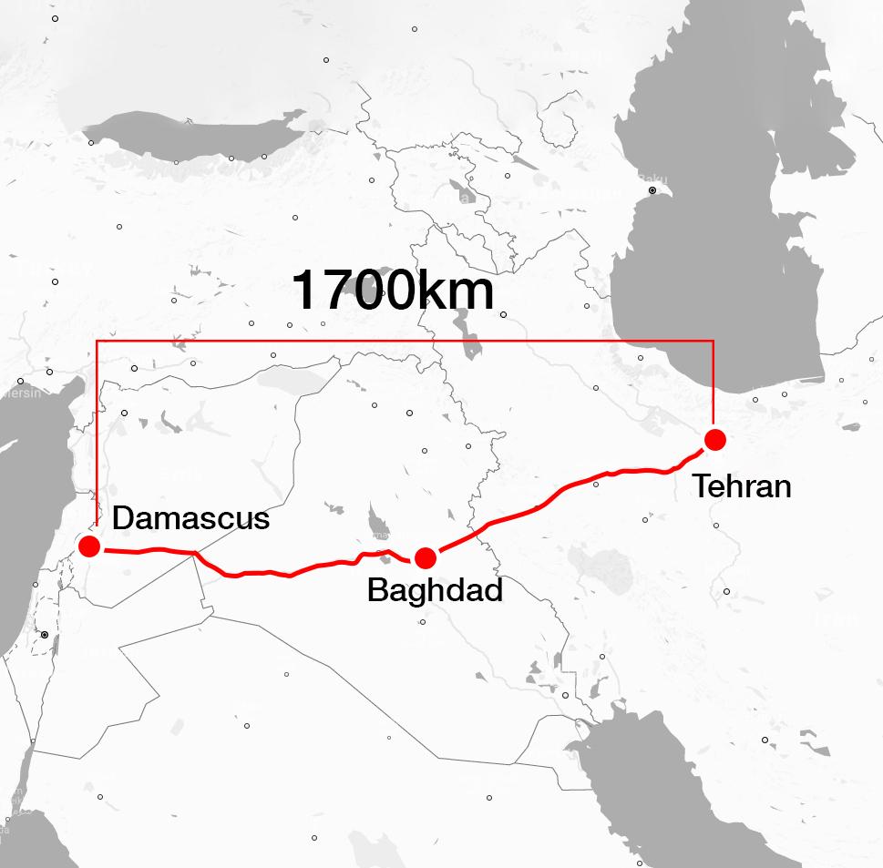 Map showing the land route linking Damascus to Tehran through Baghdad (Enab Baladi)