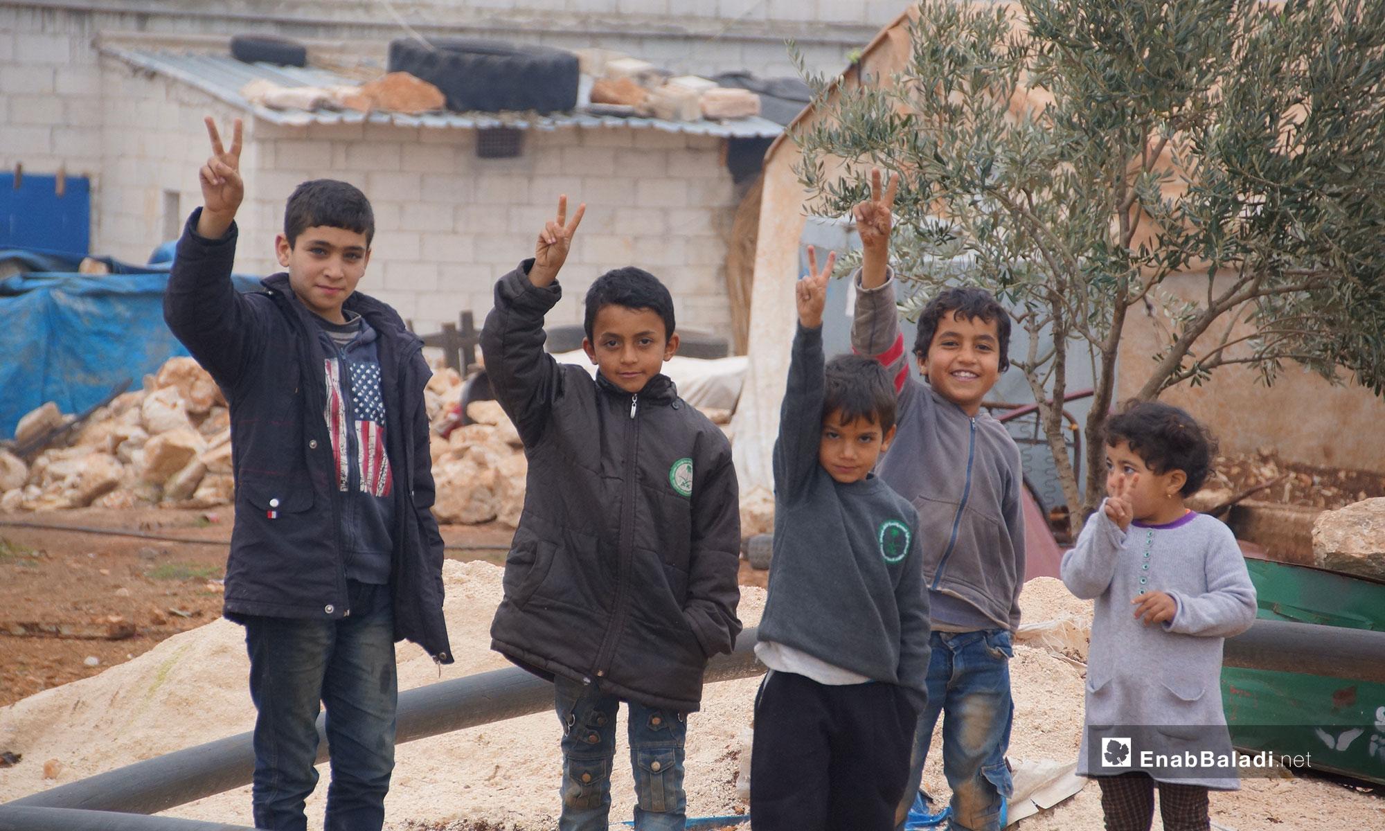 "Children from rural Hama in the village of ""New Karnaz"" in rural Idlib – December 18, 2018 (Enab Baladi)"