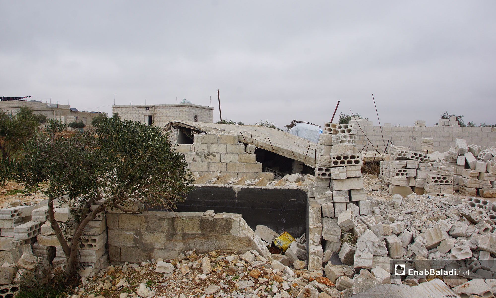"""The people of rural Hama build a new village in rural Idlib, called """"New Karnaz""""– December 18, 2018 (The people of rural Hama build a new village in rural Idlib, called """"New Karnaz""""– December 18, 2018 (Enab Baladi) Baladi)"""