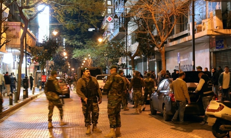 Expressive: Troops of the Lebanese General Directorate of General Security at the al-Hamra Street, Central Beirut (Facebook)