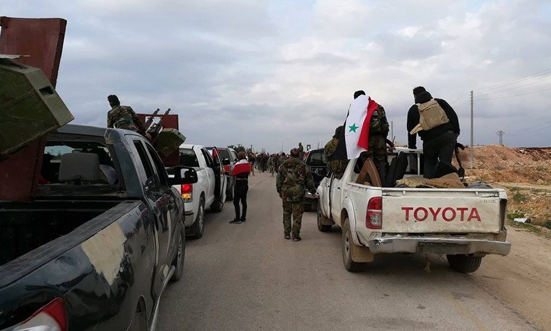 """Troops of the """"Popular Mobilization Forces"""" while entering Afrin, rural Aleppo – February 22, 2018 (Pro-regime pages)"""