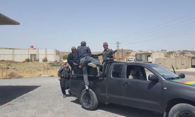 "Troops of the ""Rijal al-Karamah,"" (Men of Dignity), in the city of Duma, eastern rural Sweida – September 25, 2018 (Rijal al-Karamah)"