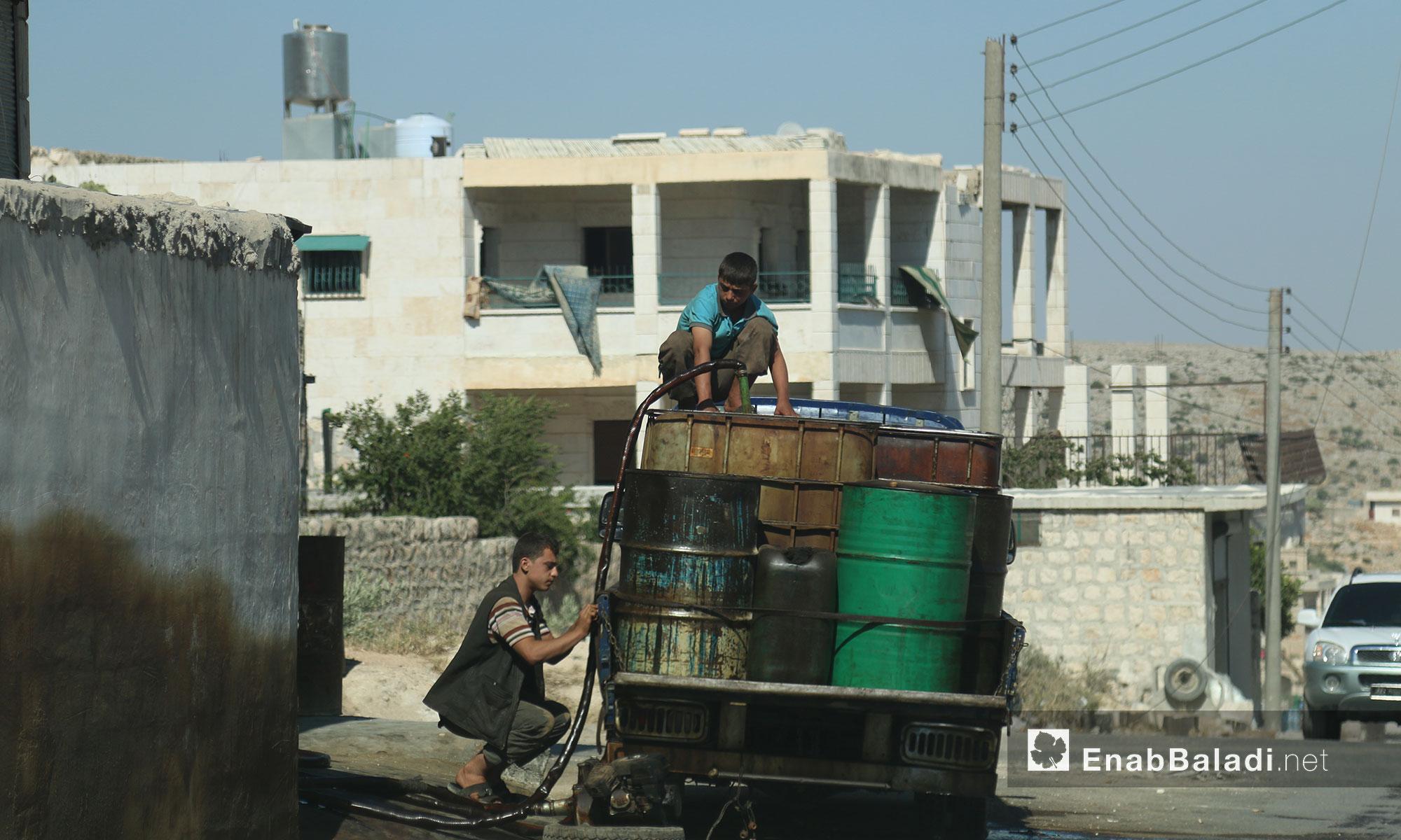 A fuel center in the city of Darat Izza, rural Aleppo – June 12, 2017 (Enab Baladi)