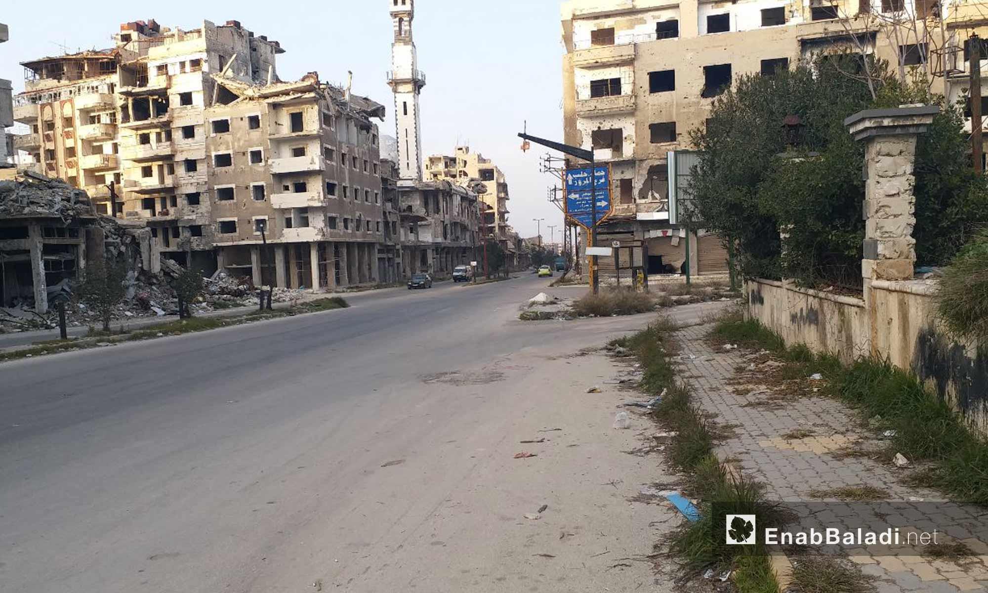 The Hama roadway and the secondary roads leading to the al-Khaldia January 24, 2019 (Enab Baladi)