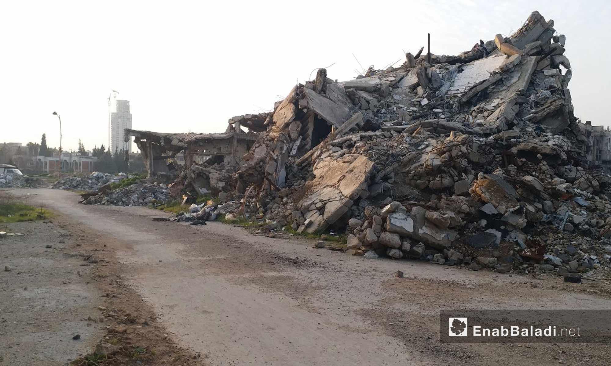 Destroyed buildings in the Bab al-Dreib neighborhood in the city of Homs - January 24, 2019 (Enab Baladi)