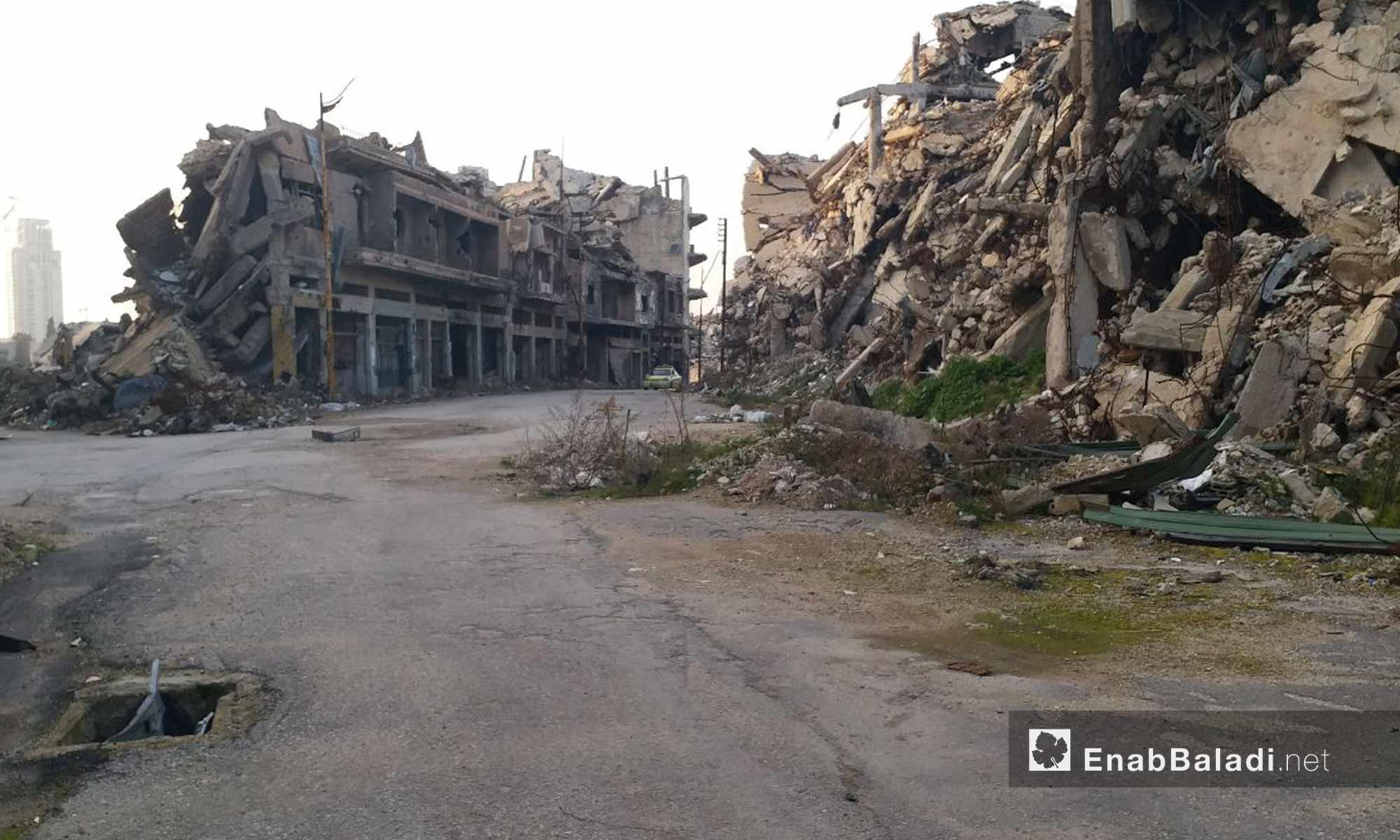 Hama roadway and the surrounding of Khalid ibn al-Walid Mosque, Homs – January 24, 2019 (Enab Baladi)