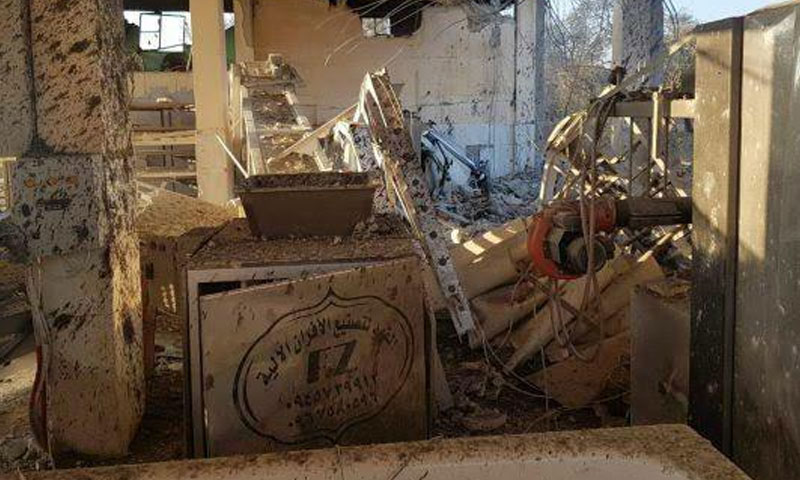 The al-Janudiyah Bakery in Jisr al-Shugur, rural Idlib, after being shelled by a Russian aircraft – January 26, 2019 (The Syrian Network for Human Rights)