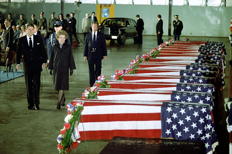 The Reagans honor the victims of Hezbollah attack on the U.S. Embassy in Beirut, 1983